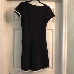J Crew Black dress with white trim